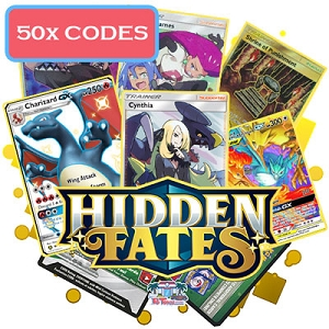 50x Pokemon TCG Online Codes For Hidden Fates Booster Pack