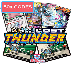 50x Pokemon TCG Online Codes For Sun And Moon Lost Thunder Booster Pack - Automatic E-mail Delivery