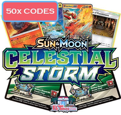 50x Pokemon TCG Online Codes For Sun And Moon Celestial Storm Booster Pack