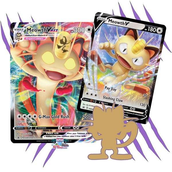 Pokemon TCG Online Codes For Meowth V SWSH004 & Meowth V MAX SWSH005