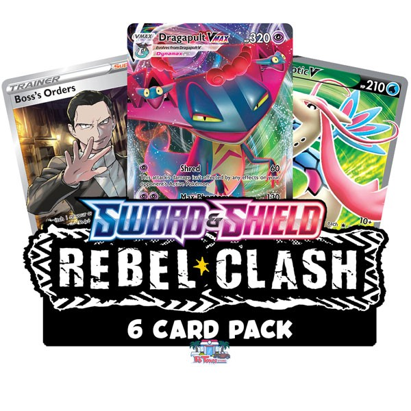 Rebel Clash 6 Card Booster Pack - Pokemon TCGO Codes Online